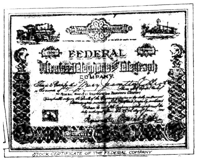 Federal Wireless Stock Certificate