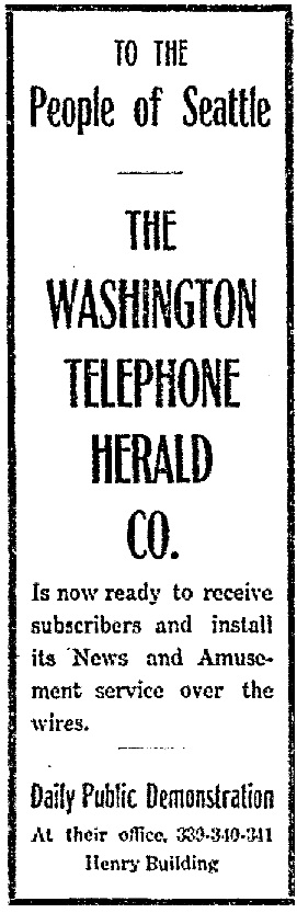 Washington Telephone Herald Company advertisement