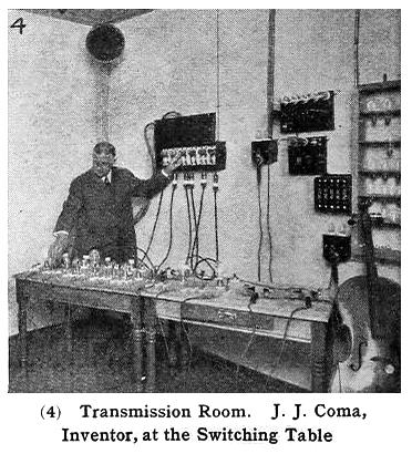 Transmission Room. J. J. Coma, inventor, at the switching table