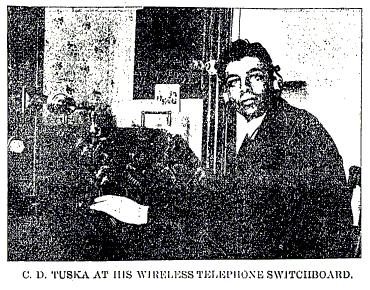 C. D. Tuska at his wireless telephone switchboard