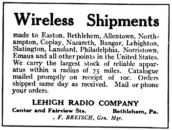 Lehigh Radio Company advertisement