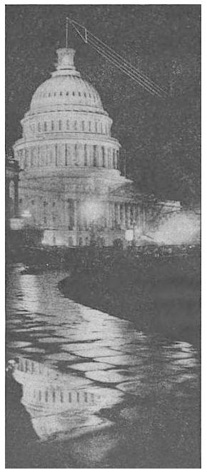 U.S. Capitol building with illustration of proposed transmitting aerial