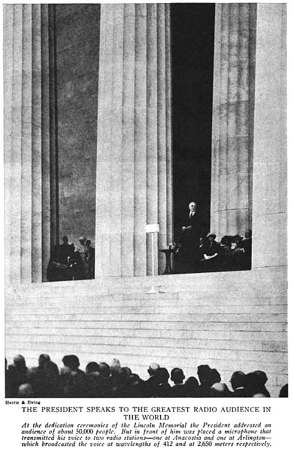 Harding radio broadcast dedication of the Lincoln Memorial