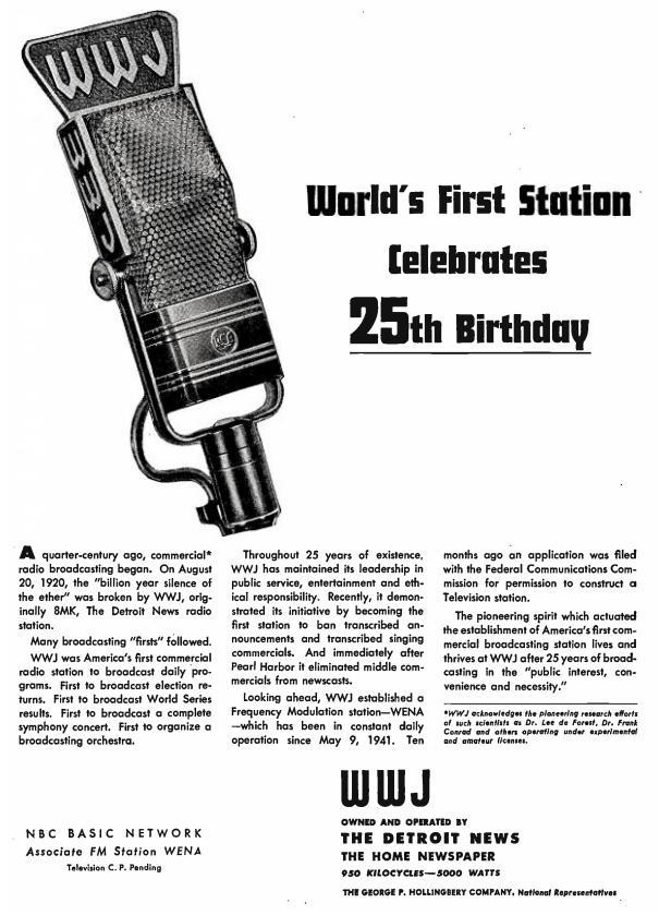 1945 25th Anniversary ad for WWJ