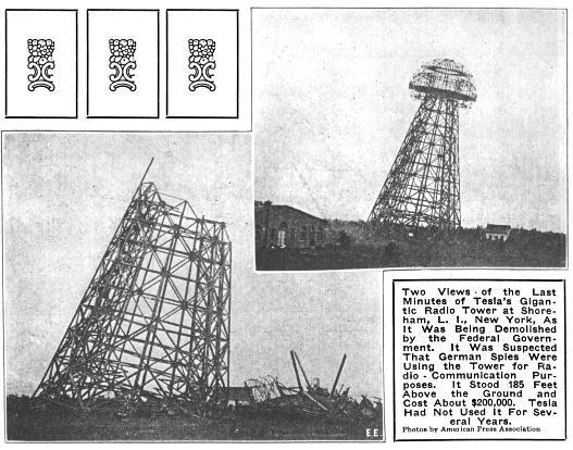Tesla Wireless Power >> U S Blows Up Tesla Radio Tower 1917